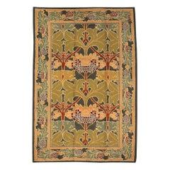 Vintage European Olive-Green Wool Carpet, ca. 1950