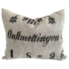 Vintage European Printed Grainsack Linen Pillow with Down Feather Insert