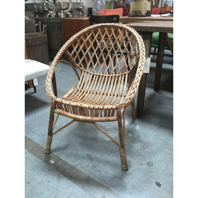 Vintage European Rattan Chair In Good Condition For Sale In Los Angeles, CA