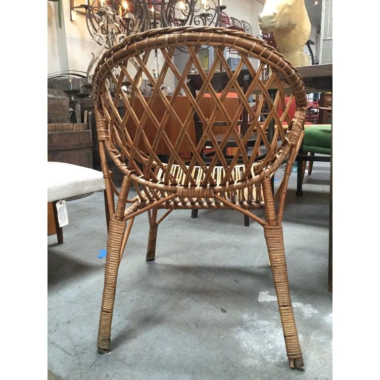 20th Century Vintage European Rattan Chair For Sale