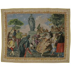 Vintage Venetian Tapestry Inspired by Tiepolo, The Minuet, Carnival Scene
