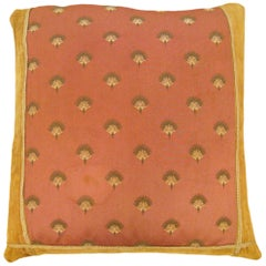 Vintage Decorative European Textile Pillow with Velvet and Striped Fabric