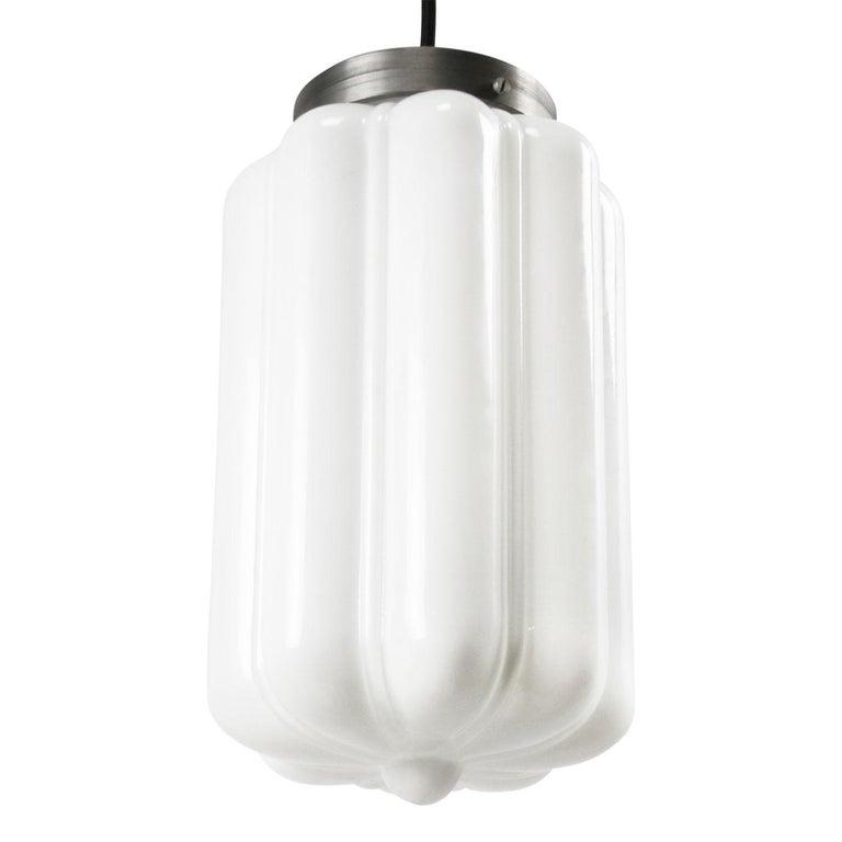 German Vintage European White Opaline Glass Metal-Top Pendant Lights
