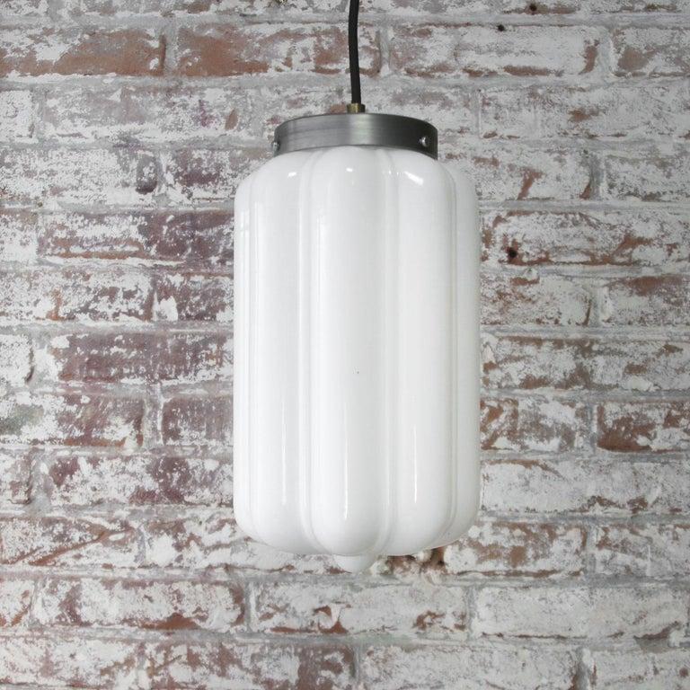 20th Century Vintage European White Opaline Glass Metal-Top Pendant Lights