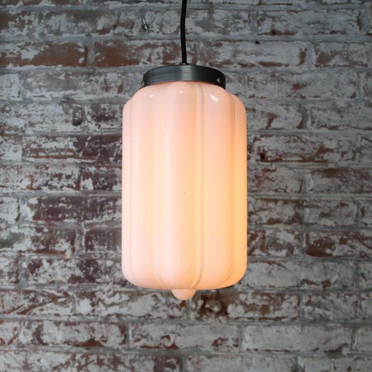 Vintage European White Opaline Glass Metal-Top Pendant Lights 1
