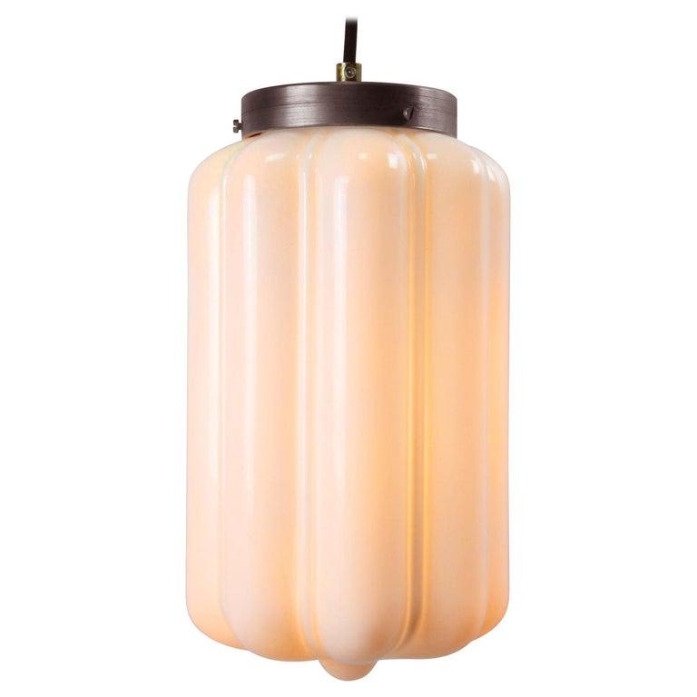 Vintage European White Opaline Glass Metal-Top Pendant Lights