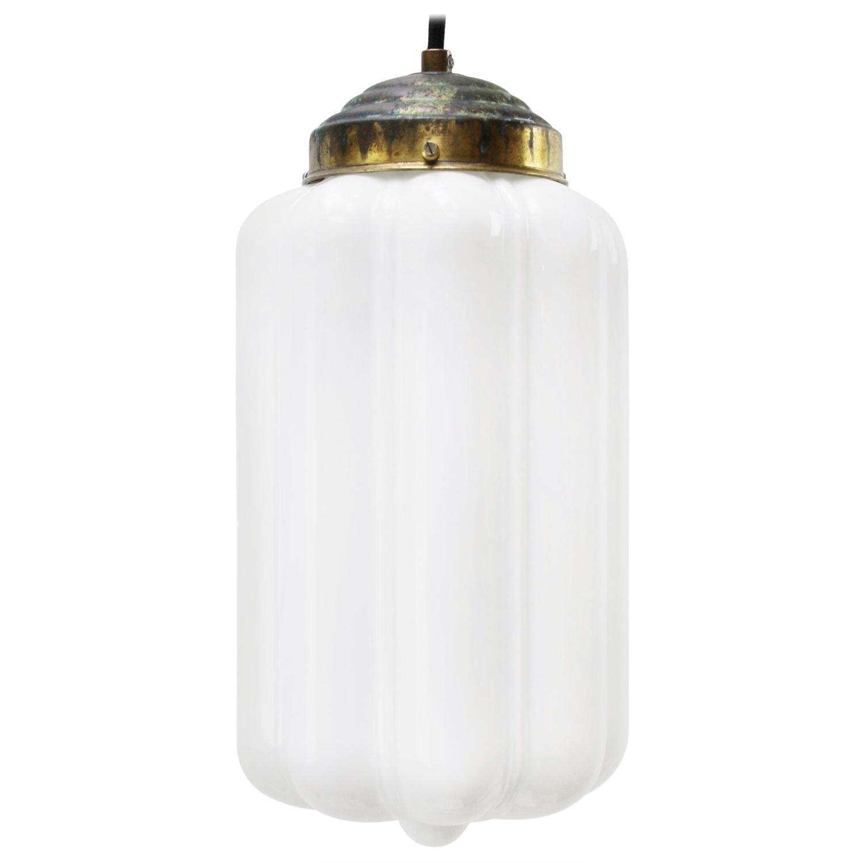 Vintage European White Opaline Milk Glass Brass Pendant Lights