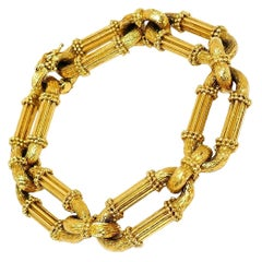 Vintage European Yellow Gold Oval Link Chain Bracelet