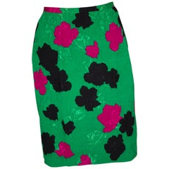 Vintage Evening Skirt., Green , Pink and Black