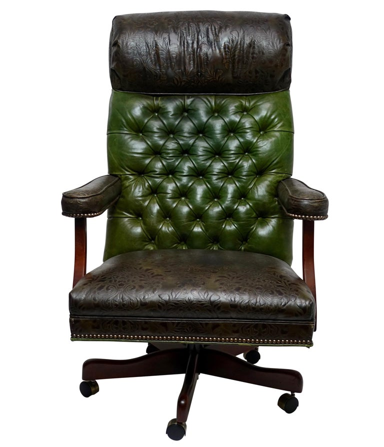 Admirable Vintage Executive Leather Office Desk Library Chair Ncnpc Chair Design For Home Ncnpcorg