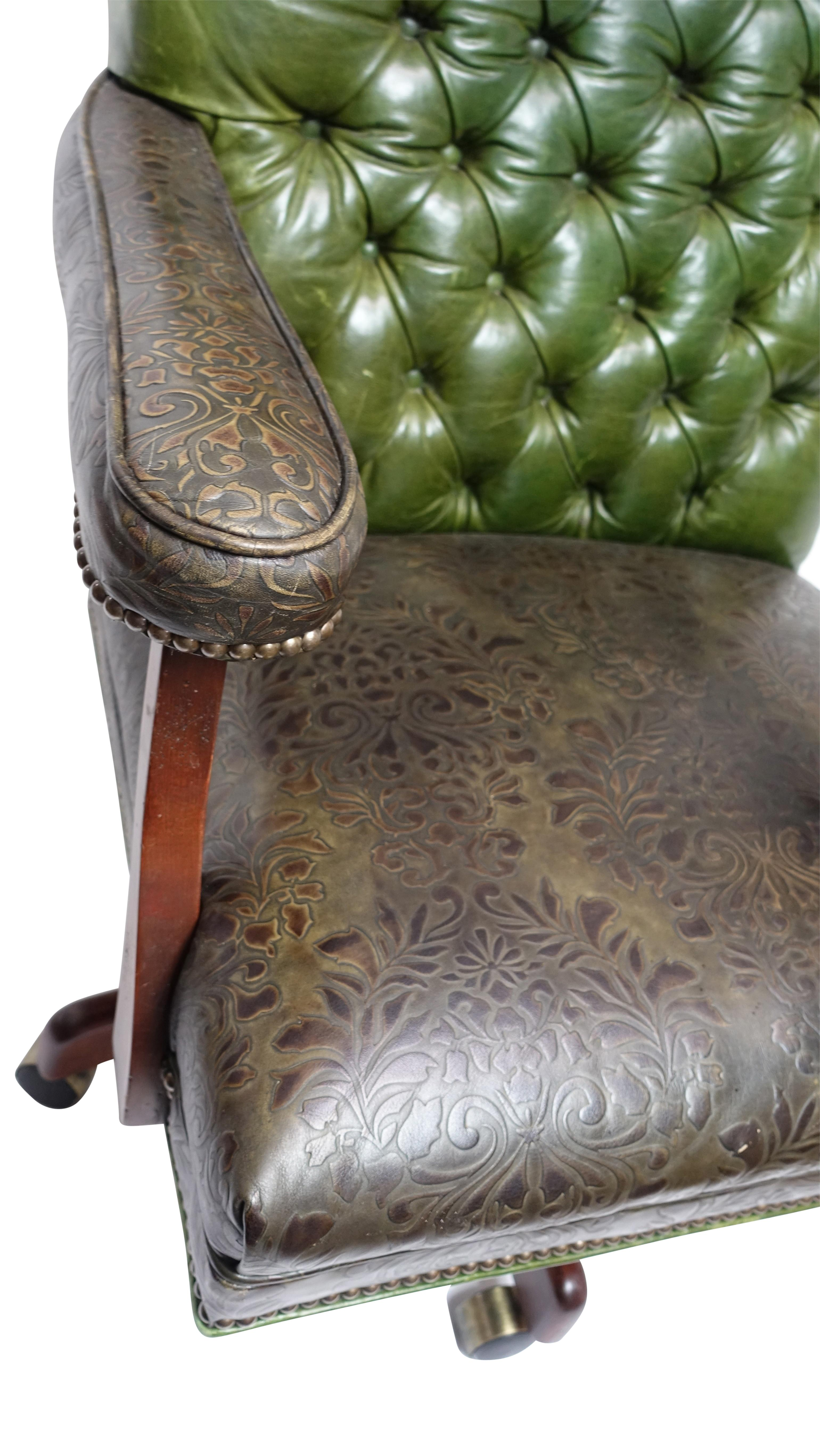Charmant Vintage Executive Leather Office Desk Library Chair
