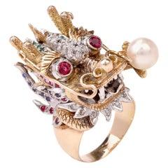 Vintage Exotic Dragon Gold Diamond Multi Gems Ring