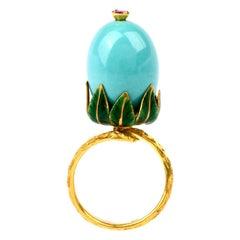 Vintage Exotic Enameled 18 Karat Turquoise Ruby Cocktail Gold  Ring