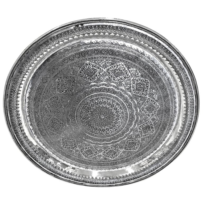 Vintage, Exotic, Old, Round Silver Tray, Extreme Detailed Hand Carved For Sale
