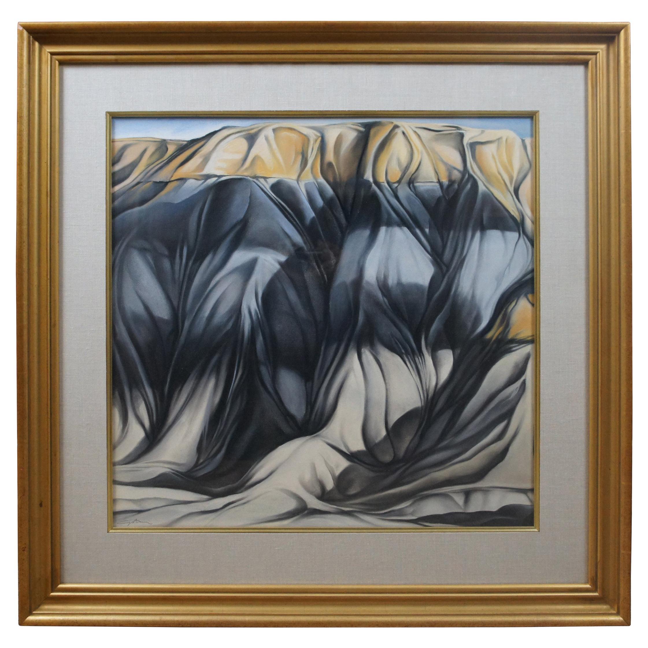 Vintage Expressionist Pastel Landscape Painting Signed Canyon Cliff Southwest