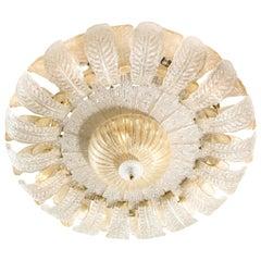 Vintage Extra Large Murano Gold Leaf Glass Acanthus Leaf Flush Mount