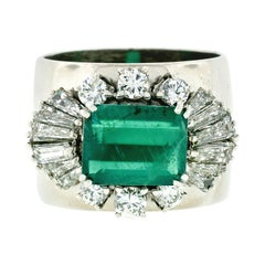 Vintage F. Moroni 18k Gold 2.35ct GIA Emerald Diamond Wide Cocktail Band Ring