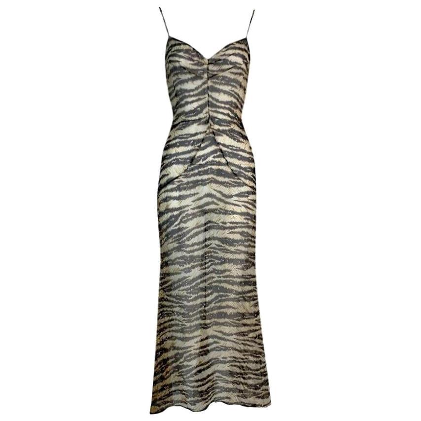 Vintage F/W 1996 Dolce & Gabbana Runway Sheer Silk Leopard Maxi Dress