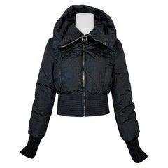 Vintage F/W 1997 Christian Dior John Galliano Black Cropped Puffer Jacket