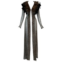 Vintage F/W 1997 Dolce & Gabbana Runway Sheer Leopard Feather Dress Jacket