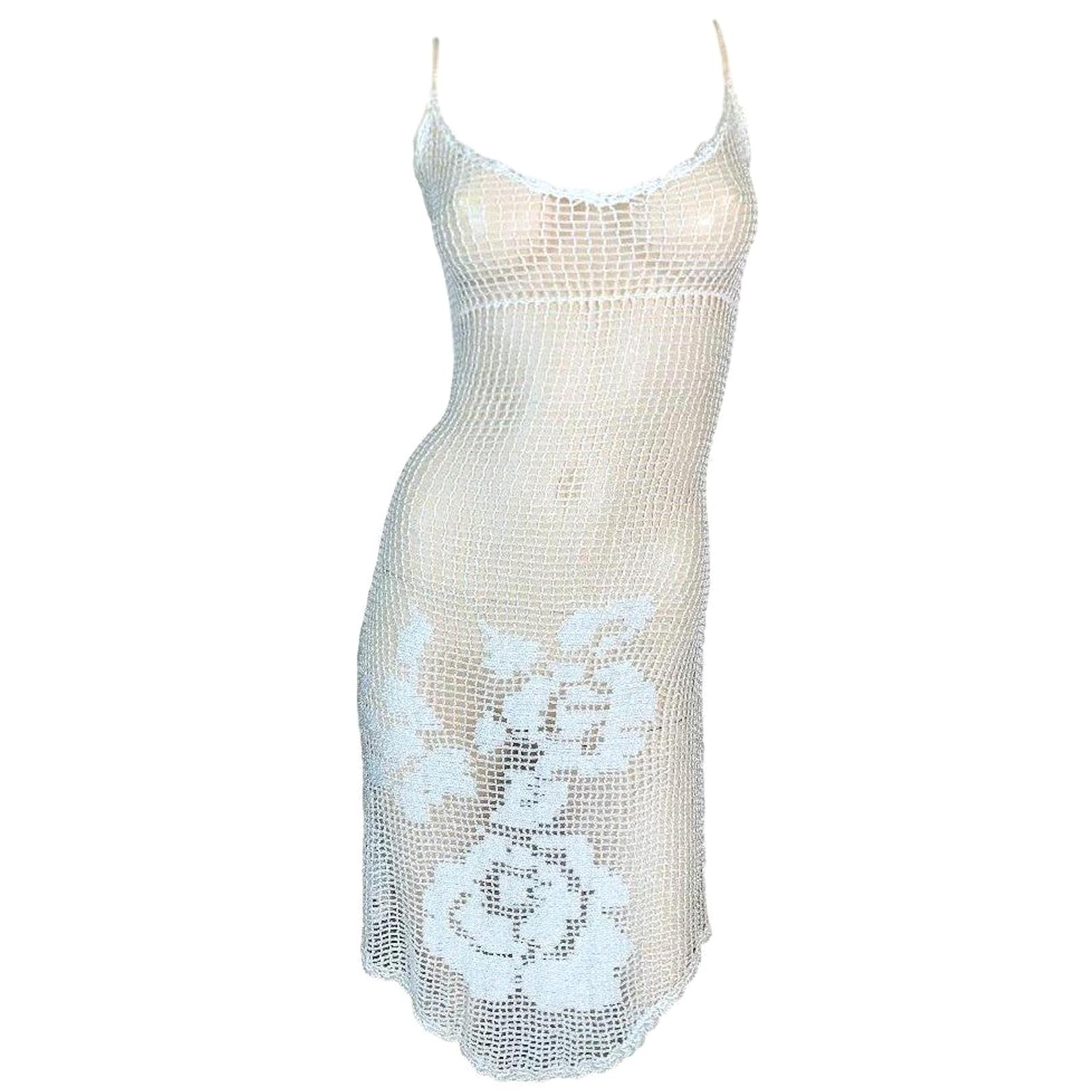 Vintage F/W 1997 Dolce & Gabbana Runway Sheer White Knit Dress