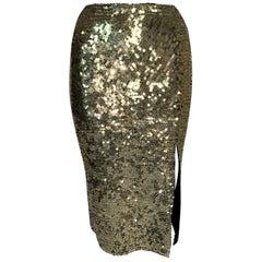 Vintage F/W 1997 John Galliano Gold Sequin Wiggle Skirt w Slit