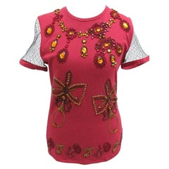 Vintage F/W 2002 John Galliano for Cristian Dior Crystal Embellished Red Top