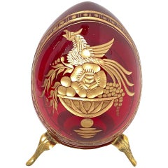 Vintage Faberge Russia Style Ruby Red Glass Egg with Etched Royal Crest Monogram