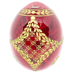 Vintage Faberge Russia Style Ruby Red Glass Egg with Etched Royal Garnishment