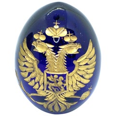Vintage Faberge Style Russia Glass Egg with Etched Russian Coat of Arms