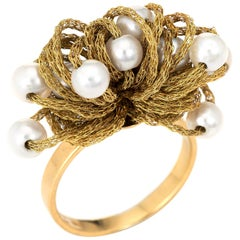 Vintage Fabric Dome Ring Cultured Pearl 18 Karat Gold Estate Jewelry, Italy