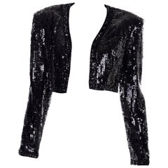 Vintage Fabrice Silhouette Beaded & Sequin Cropped Black Evening Jacket