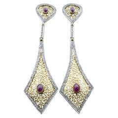 Vintage Fabulously Long 14ct Yellow Gold/Silvergilt Ruby & Diamond Drop Earrings