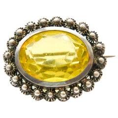 Vintage Silver Yellow Stone Filigree Brooch