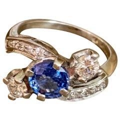 Vintage Faceted Blue Sapphire and Brilliant Cut Diamond Platinum Ring-Size 6 1/2