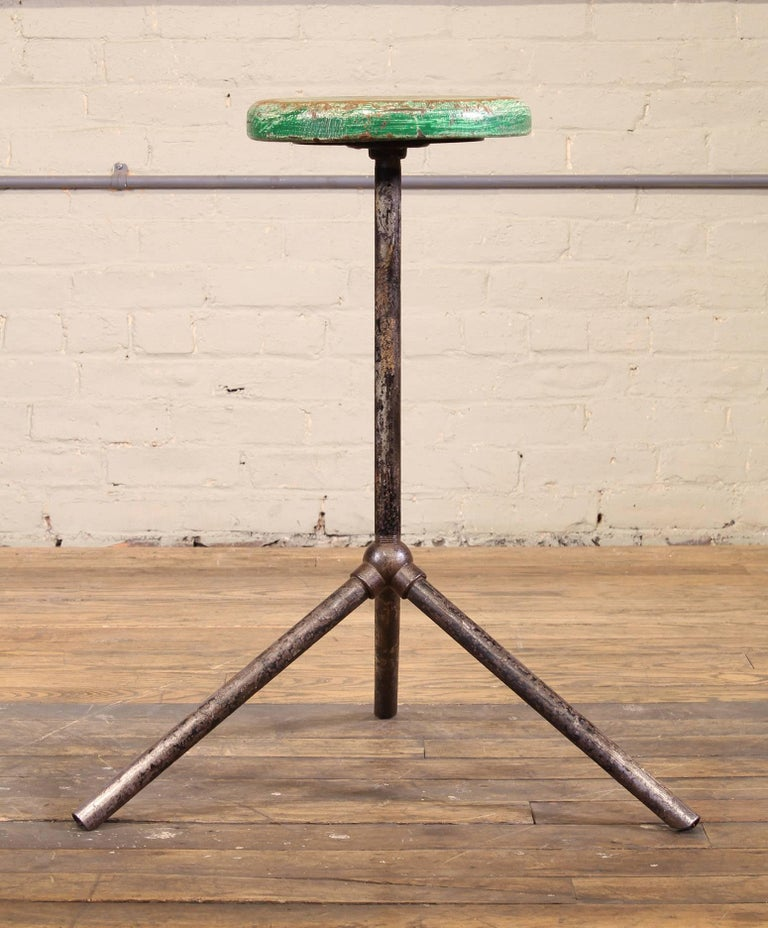 Three Pole Factory Stool Vintage Shop Industrial Style, Steel and Wood For Sale 3