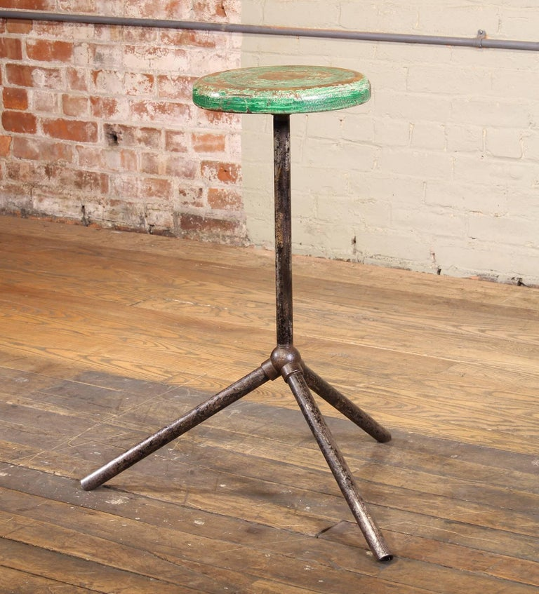 Cast Three Pole Factory Stool Vintage Shop Industrial Style, Steel and Wood For Sale