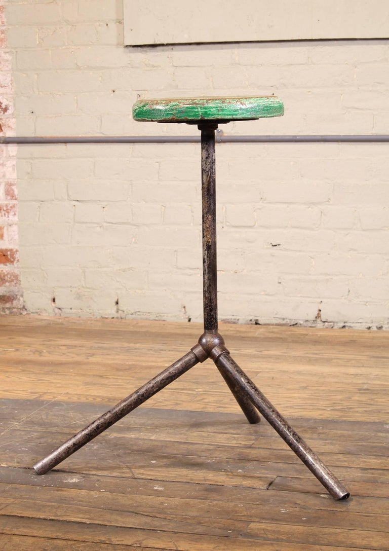 Three Pole Factory Stool Vintage Shop Industrial Style, Steel and Wood In Distressed Condition For Sale In Oakville, CT