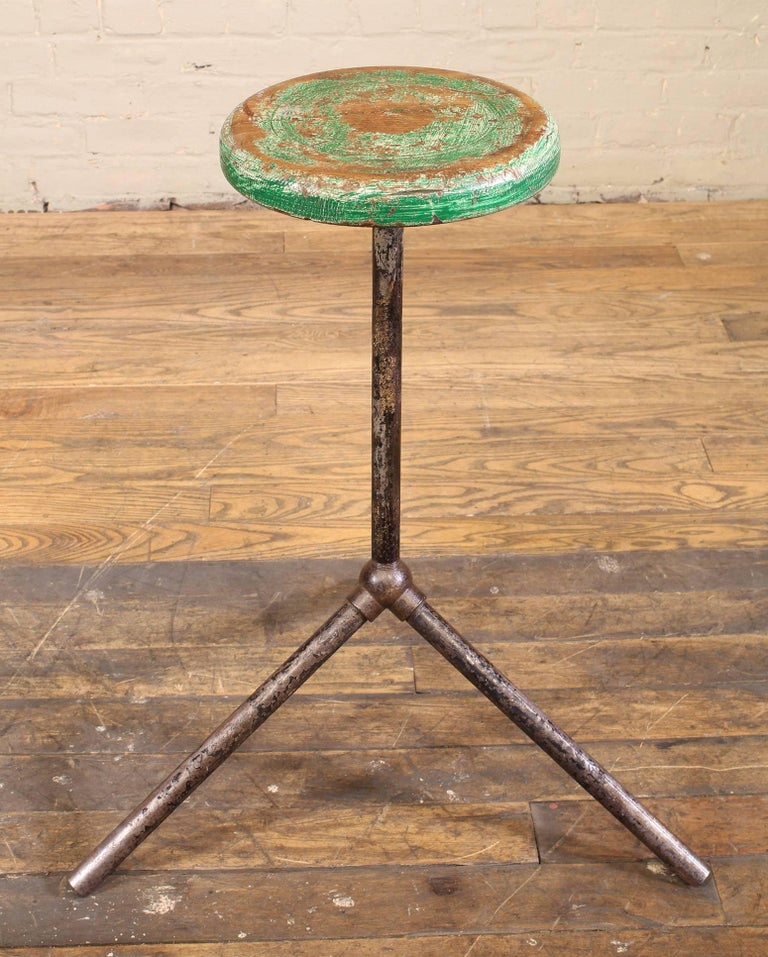 Three Pole Factory Stool Vintage Shop Industrial Style, Steel and Wood For Sale 2