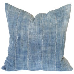 Vintage Faded Blue Indigo African Mud Cloth Pillow Cover