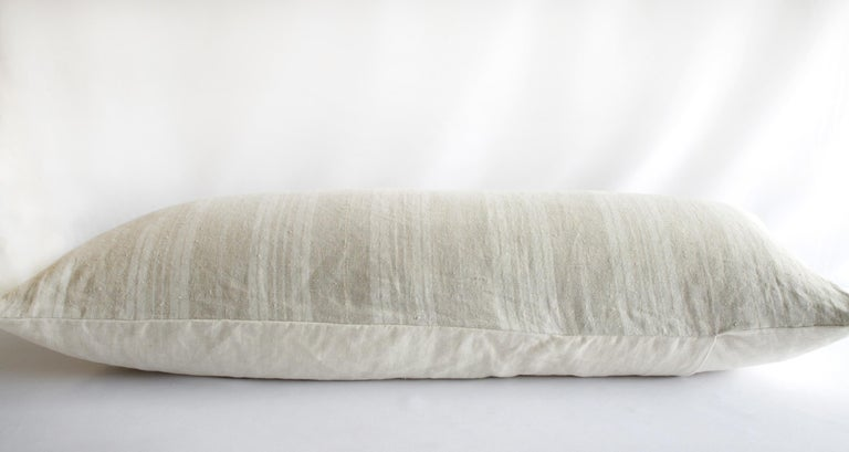 Contemporary Vintage Faded French Ticking Linen Lumbar Pillow For Sale