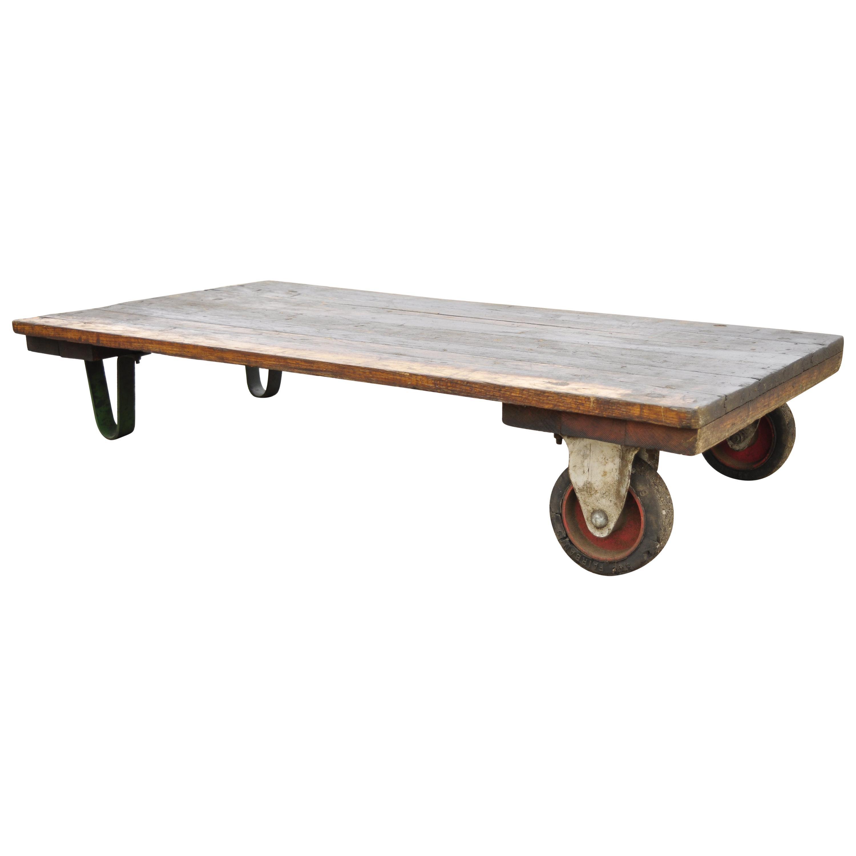 Vintage Fairbanks American Industrial Wood & Iron Factory Work Cart Coffee Table