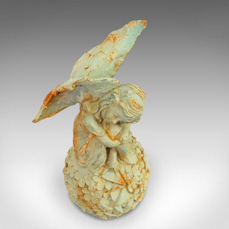 20th Century Vintage Fairy Ornament, English, Cast Iron, Garden, Decorative, Statuette For Sale