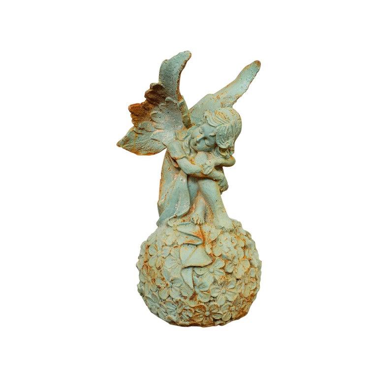 Vintage Fairy Ornament, English, Cast Iron, Garden, Decorative, Statuette For Sale