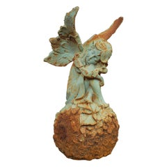 Vintage Fairy Ornament, English, Iron, Ethereal, Garden, Decorative, Statuette