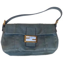 Vintage Famous Baguette Signed FENDI ITALY Gray Python Handbag