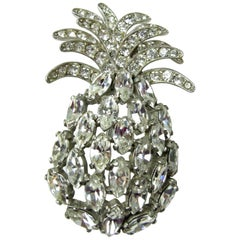 Vintage Famous Schiapparelli Crystal Pineapple Brooch