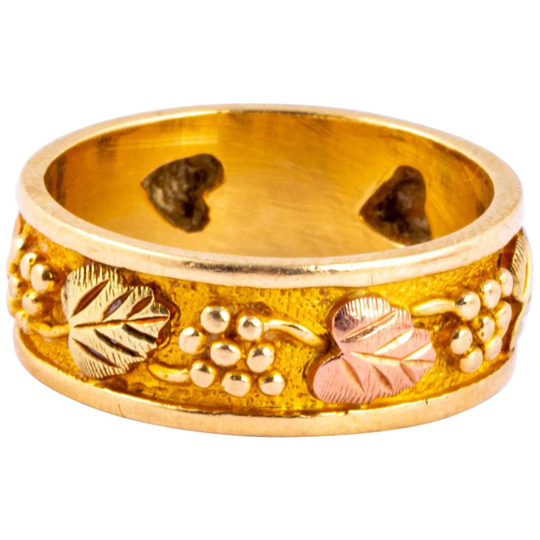 Vintage Fancy 14 Carat Rose and Yellow Gold Band