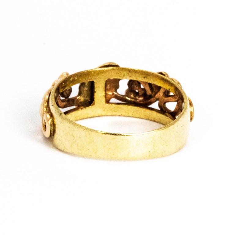 Modern Vintage Fancy 9 Carat Gold Wedding Band For Sale