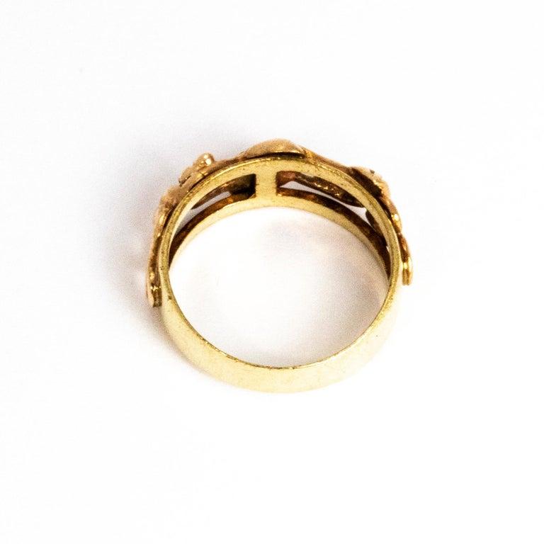 Vintage Fancy 9 Carat Gold Wedding Band For Sale 1